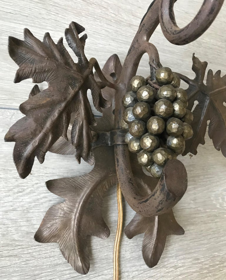 Antique Wine Theme Wall Lamp/Sconce with Wrought Iron Bunch of Grapes & Leafs For Sale 9