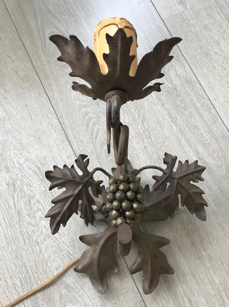 French Antique Wine Theme Wall Lamp/Sconce with Wrought Iron Bunch of Grapes & Leafs For Sale