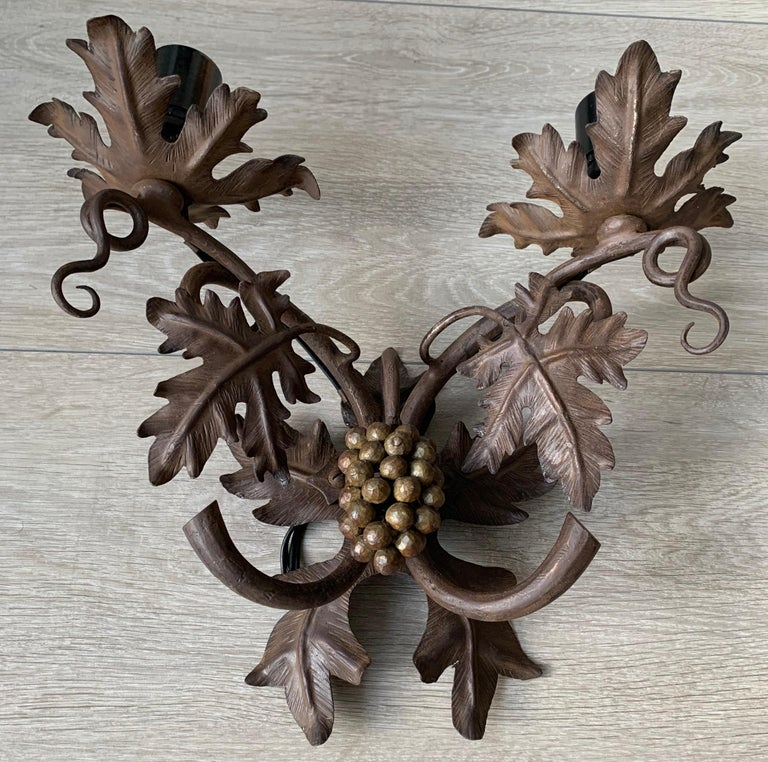 French Antique Wine Theme Wall Lamp / Sconce with Wrought Iron Bunch of Grapes & Leafs For Sale