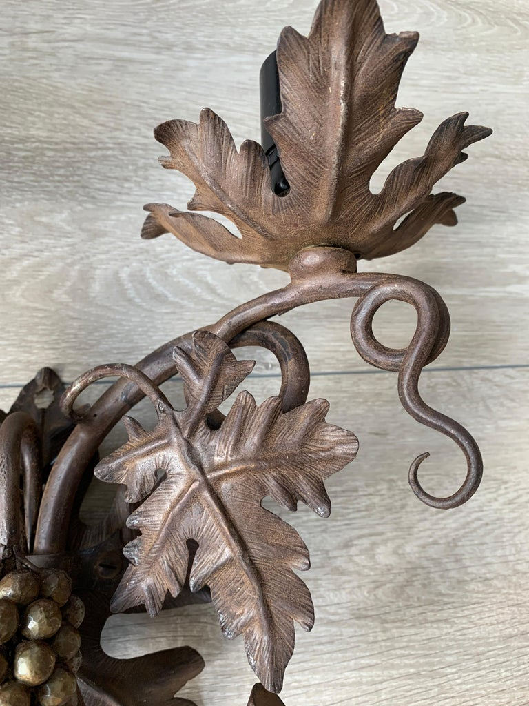 Antique Wine Theme Wall Lamp / Sconce with Wrought Iron Bunch of Grapes & Leafs For Sale 1