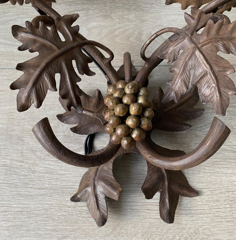 Antique Wine Theme Wall Lamp / Sconce with Wrought Iron Bunch of Grapes & Leafs For Sale 2