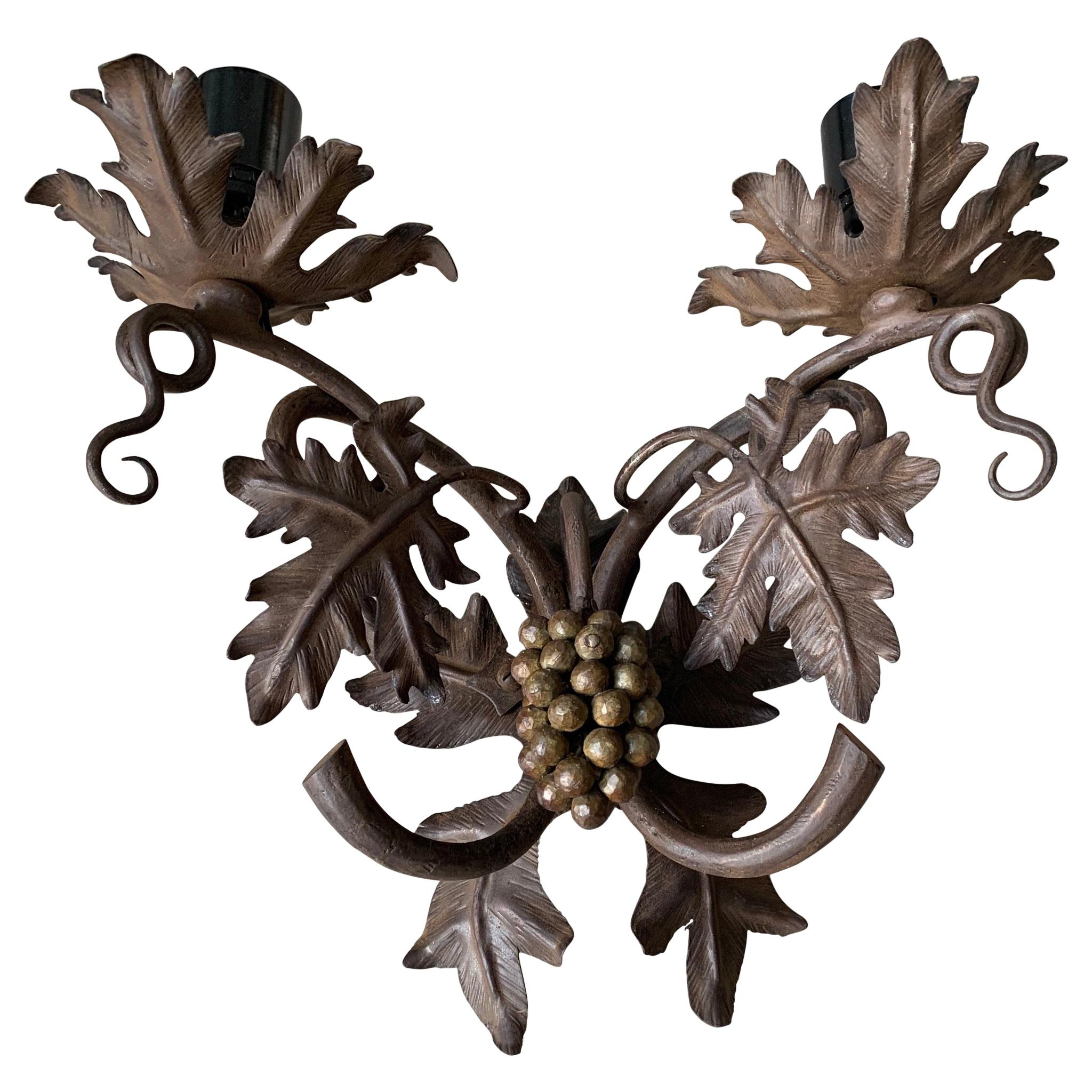 Antique Wine Theme Wall Lamp / Sconce with Wrought Iron Bunch of Grapes & Leafs