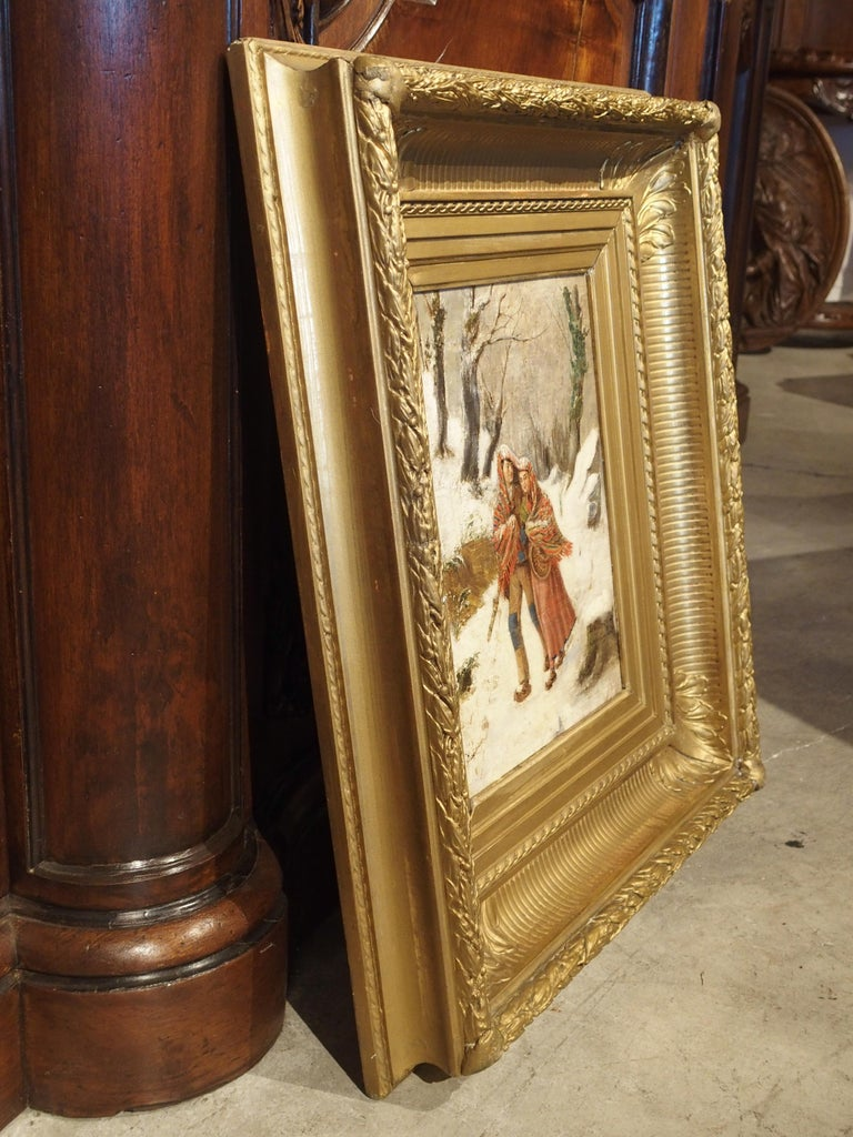 Antique Winter Scene Painting of a Couple Walking, Dated 1881 For Sale 3