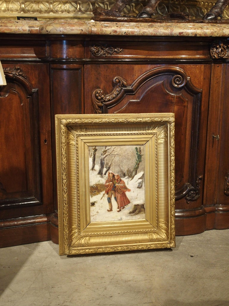 Antique Winter Scene Painting of a Couple Walking, Dated 1881 For Sale 8