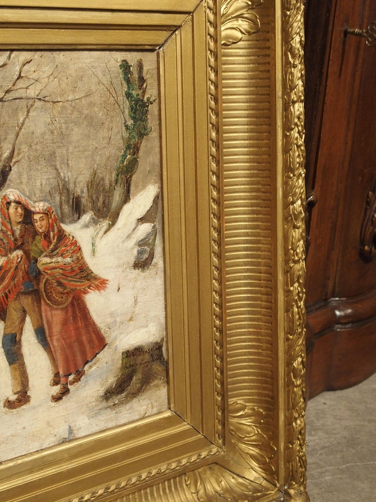 Antique Winter Scene Painting of a Couple Walking, Dated 1881 For Sale 9