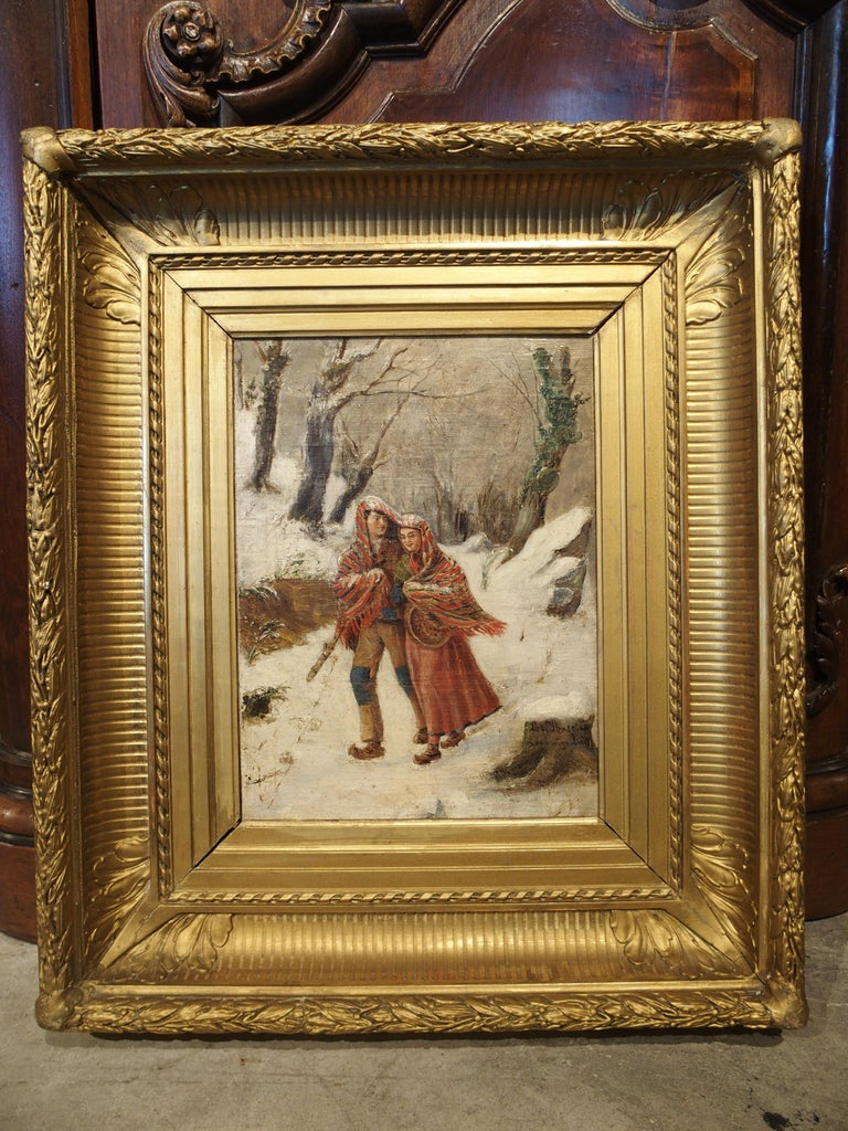 Spanish Antique Winter Scene Painting of a Couple Walking, Dated 1881 For Sale