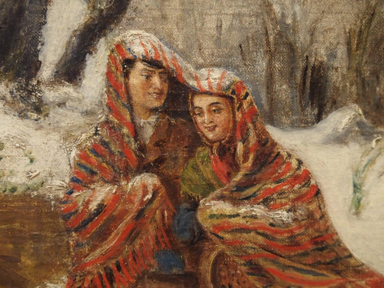19th Century Antique Winter Scene Painting of a Couple Walking, Dated 1881 For Sale
