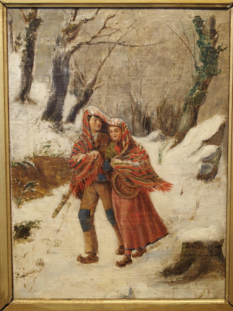 Canvas Antique Winter Scene Painting of a Couple Walking, Dated 1881 For Sale