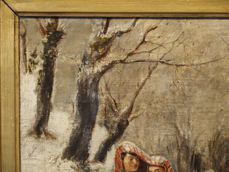 Antique Winter Scene Painting of a Couple Walking, Dated 1881 For Sale 1