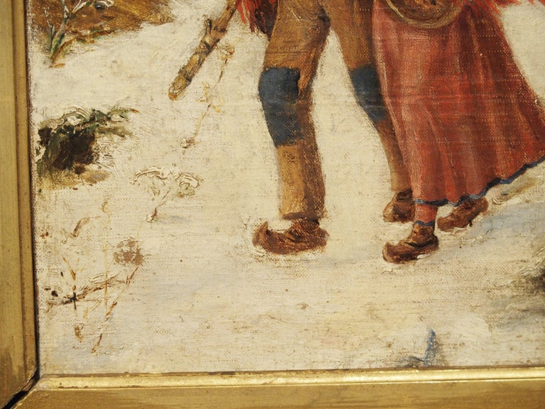 Antique Winter Scene Painting of a Couple Walking, Dated 1881 For Sale 2