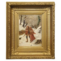Antique Winter Scene Painting of a Couple Walking, Dated 1881