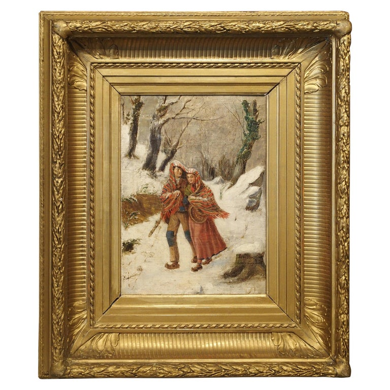 Antique Winter Scene Painting of a Couple Walking, Dated 1881 For Sale