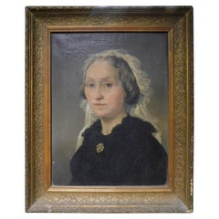 Antique Woman Portrait Painting, Oil on Canvas with Golden Frame, 1800, Italy