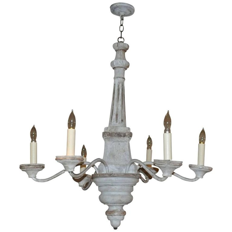 Antique Wood and Iron Six-Arm Chandelier, circa 1800