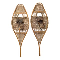 Antique Wood and Leather Snow Shoes, circa 1920