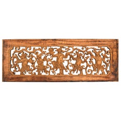 Antique Wood Carving Panel, Dancers