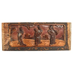 Antique Wood Carving, Three Scholars