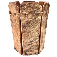 Antique Wood Cowhide Covered Rustic Waste Basket