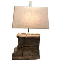 Antique Wood Fragment Lamp with Shade