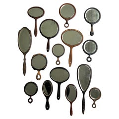 Antique Wood Hand Mirror Collection with Beveled Rims, Group of 15