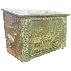 Antique Wood-Holder Covered in Embossed, Gilded Brass, Late 19th Century