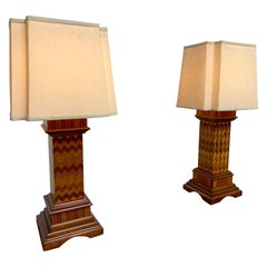 Antique Wood Lamps Made of Architectural Elements