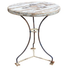 Antique Wood & Metal Bistro Table Found in Spain