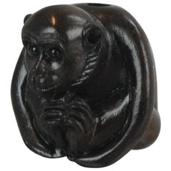 Antique Wood Monkey Netsuke 19th-20th Century Japanese Masakazu, Japan