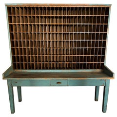 Antique Wood Postal Sorting Desk