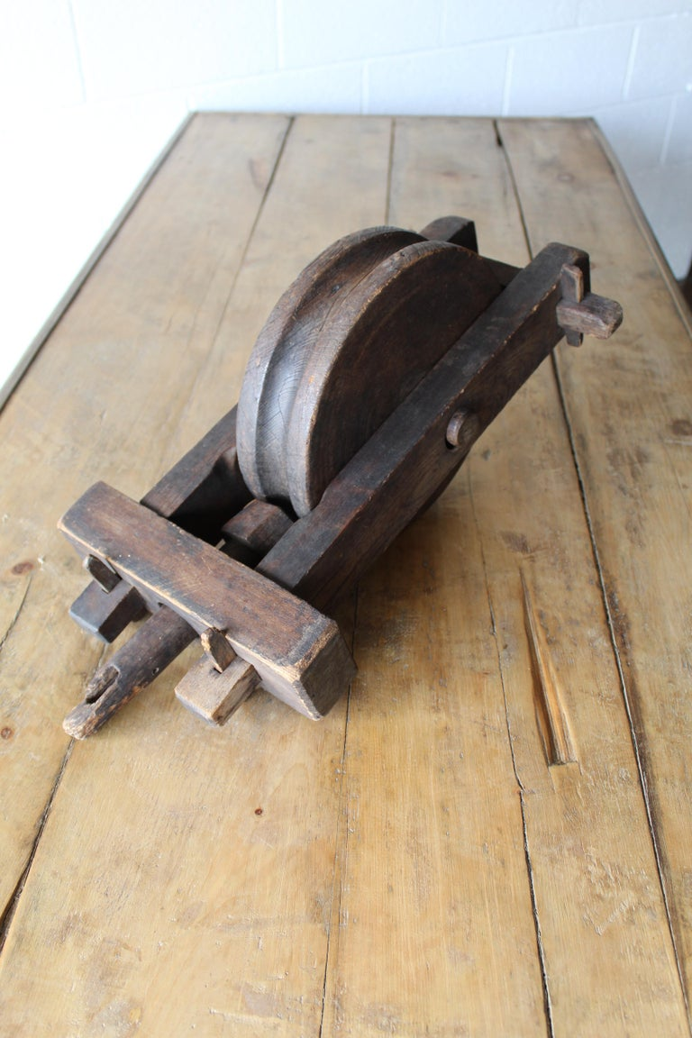Industrial Antique Wood Pulley For Sale