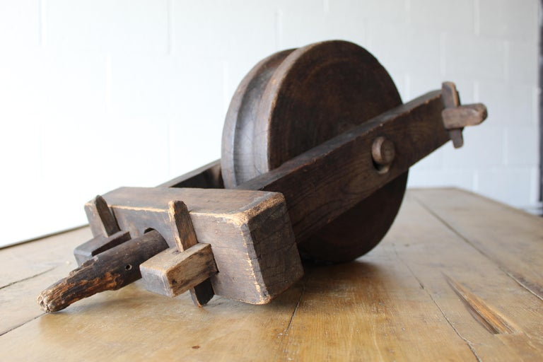 English Antique Wood Pulley For Sale
