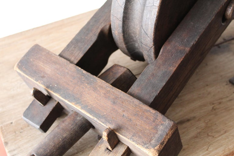 20th Century Antique Wood Pulley For Sale