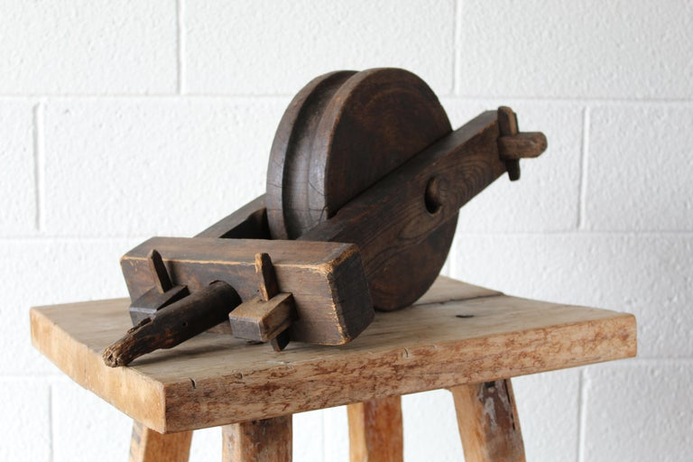 Antique Wood Pulley For Sale 2