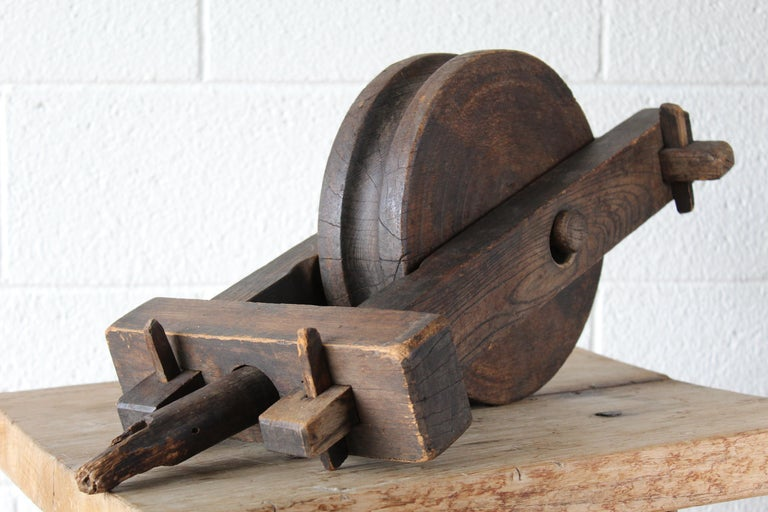 Antique Wood Pulley For Sale 3