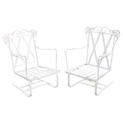 Antique Woodard Chantilly Rose Wrought Iron Patio Bouncer Lounge Chair - a Pair