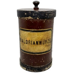 Antique Wooden and Cardboard Apothecary Pharmacy Storage Jar for Valerian Root