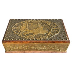 Antique Wooden Box w. Embossed Copper Japonisme Scene & Handcrafted Brass Nails