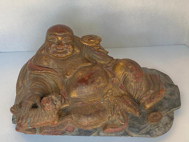 "This large hand carved reclined Hotei ""God of Happiness"