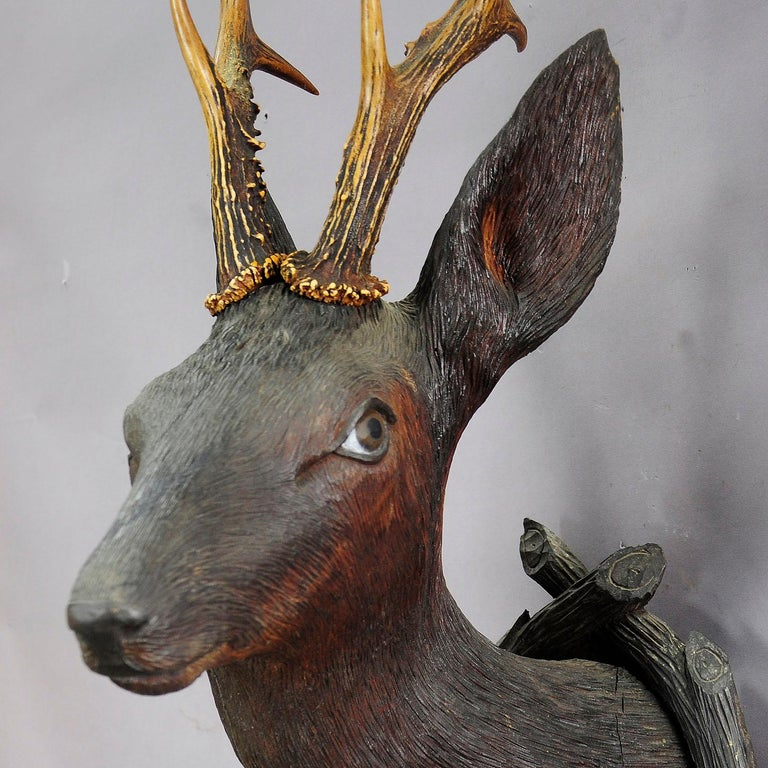 Austrian Antique Wooden Carved Deer Head with Original Antlers, Black Forest, circa 1900 For Sale