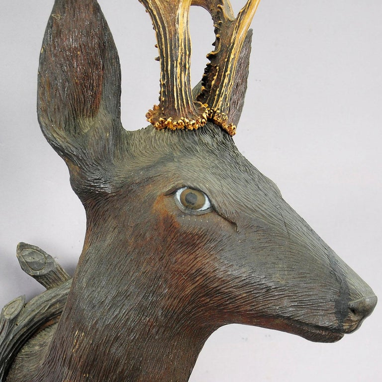 Antique Wooden Carved Deer Head with Original Antlers, Black Forest, circa 1900 In Good Condition For Sale In Berghuelen, DE