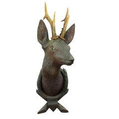 Antique Wooden Carved Deer Head with Original Antlers, Black Forest, circa 1900