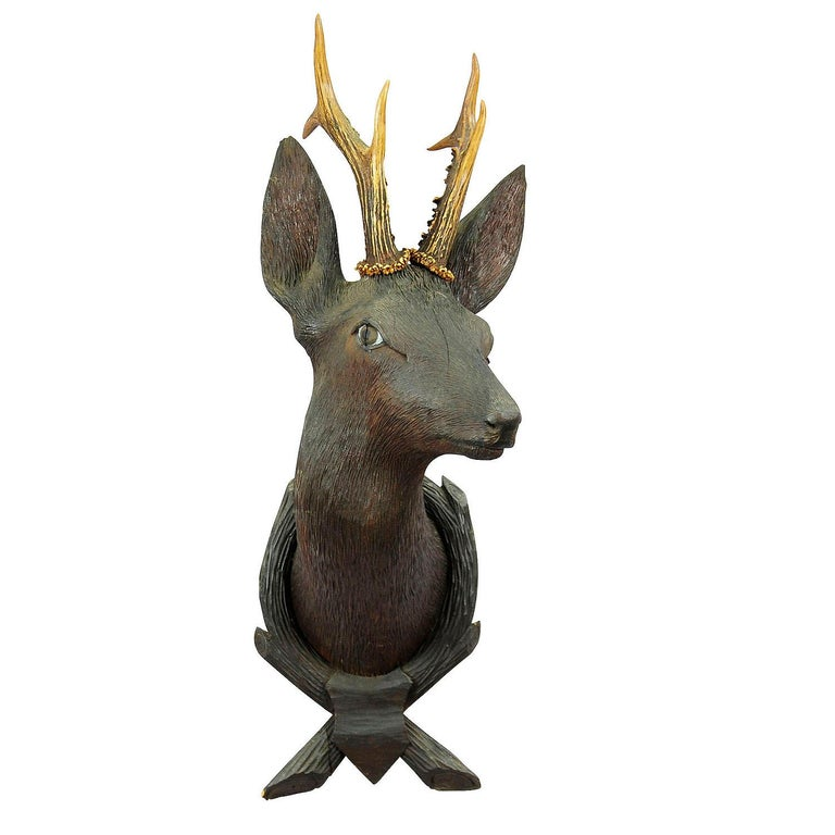 Antique Wooden Carved Deer Head with Original Antlers, Black Forest, circa 1900 For Sale