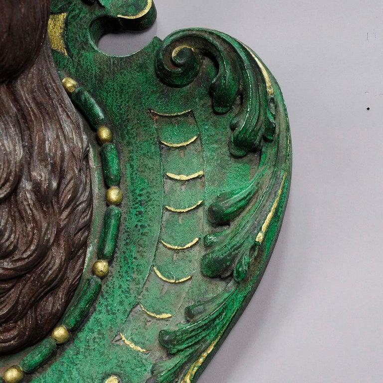 Antiker Geschnitzter Holz Hirschkopf mit Original Geweih 7