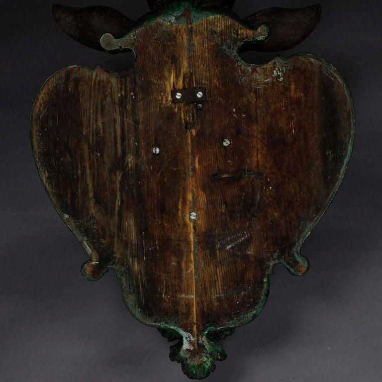 Antiker Geschnitzter Holz Hirschkopf mit Original Geweih 9
