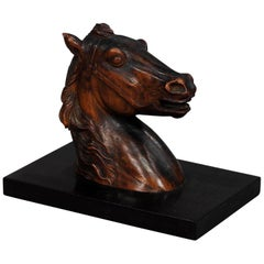 Antique Wooden Carved Horse Paper Weight, circa 1920