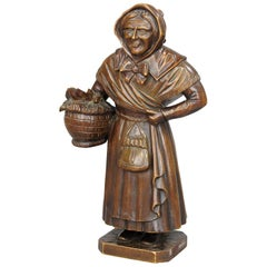 Antique Wooden Carved Sculpture of a Folksy Countrywoman