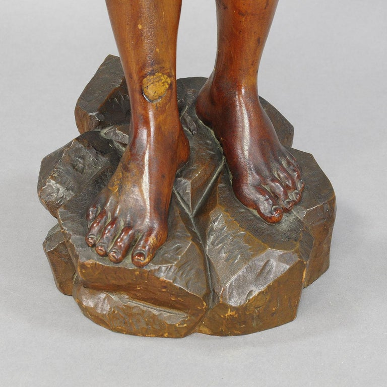 20th Century Antique Wooden Carved Statue of a Young Fisherman For Sale