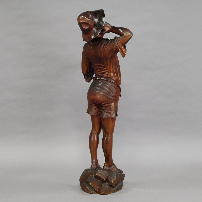 Antique Wooden Carved Statue of a Young Fisherman For Sale 1