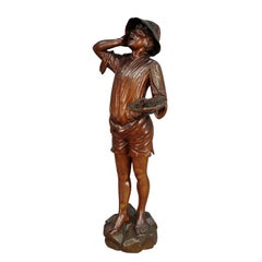 Antique Wooden Carved Statue of a Young Fisherman