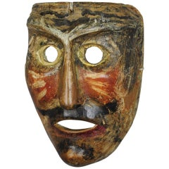 Antique Wooden Carved Tyrolian Carnival Fasnet Mask